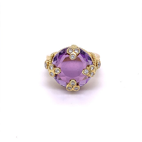Amethyst Ring with Diamonds on 18k Yellow Ring