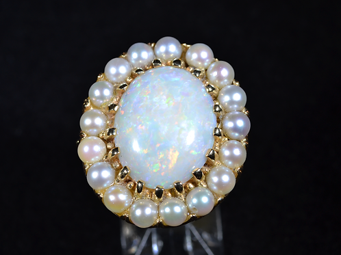 Natural Australian Opal and Pearl Heirloom Ring, in 14k Yellow Gold