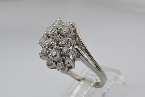 Waterfall Style Diamond Ring, Set in 14k White Gold