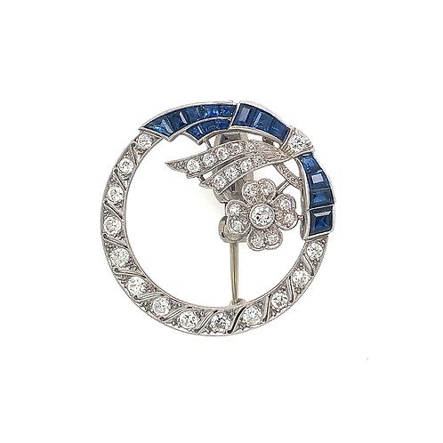 Sapphire and Diamond Platinum Brooch