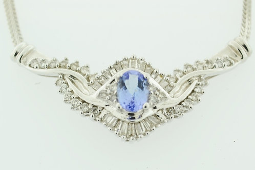Beautiful Tanzanite and Diamond Necklace, Set in 14k White Gold