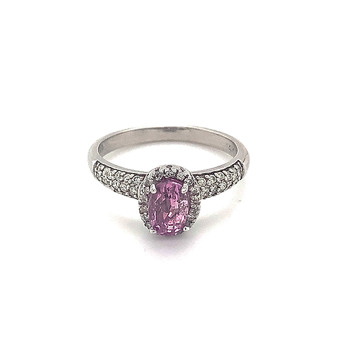 Diamond Halo Ring with Oval Pink Sapphire, Set in 14k White Gold