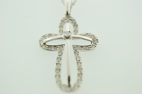 Diamond Open Cross Pendant, Set in 14k White Gold