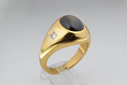 Natural Black Star Sapphire Ring with 2 Diamonds, in 14k Yellow Gold