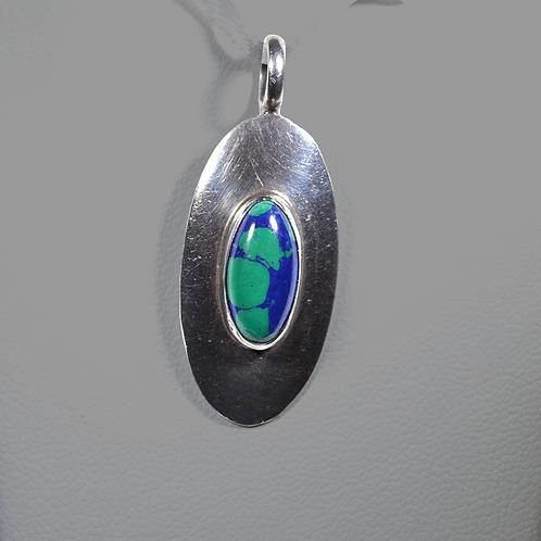 Signed Sterling Silver Azurite & Malachite Pendant