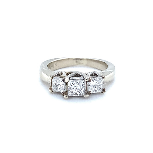 3-Stone Diamond Ring, in 14k White Gold
