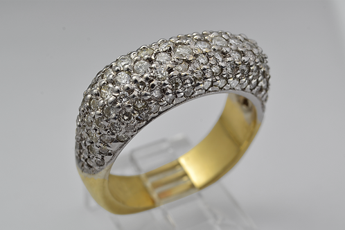 Dome Shaped Pavé Diamond Band in 14k Two Tone