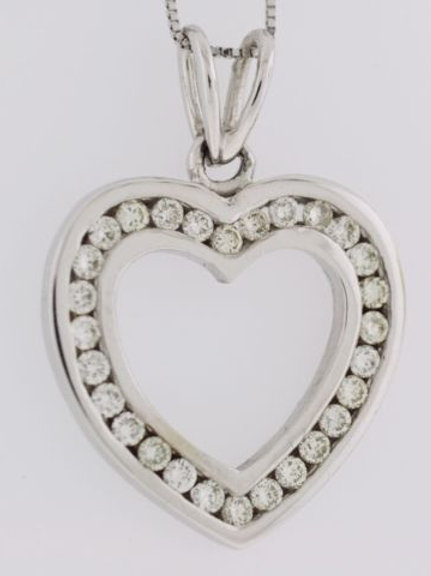 Diamond Channel Heart Pendant, Set in 14k White Gold
