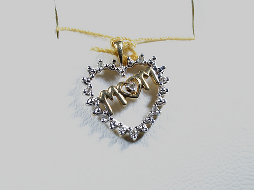"Diamond ""Mom"" Pendant, Set in 10k Yellow Gold"
