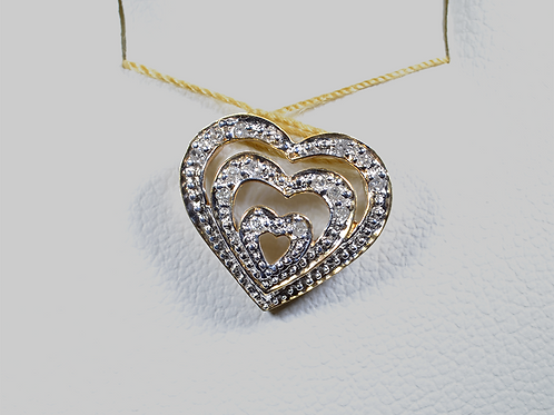 Diamond Heart Pendant, in 10k White Gold