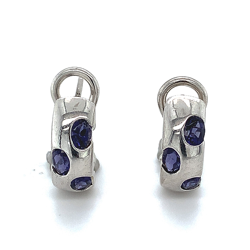 Burnished Lab Tanzanite Earrings in Sterling Silver