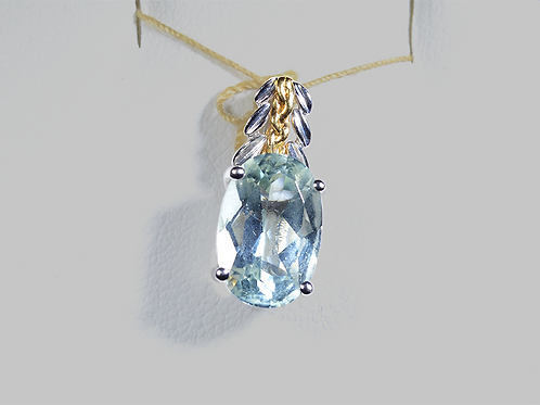 Green Amethyst Pendant set in 18k White & Yellow Gold