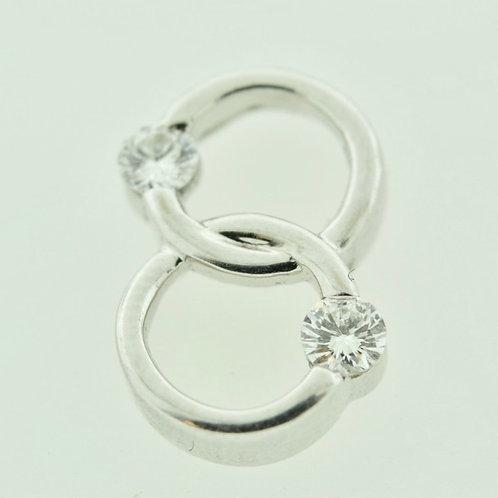 Double Ring White Gold Pendant with Brilliant Cut Diamonds