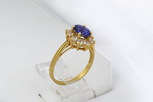 Iolite and White Topaz Ring, in 10k Yellow Gold