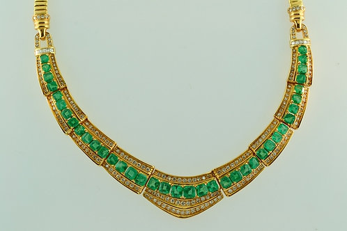 Natural Emerald and Diamond Necklace