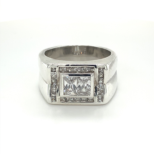 Men's Sterling Silver Ring with Cubic Zirconia