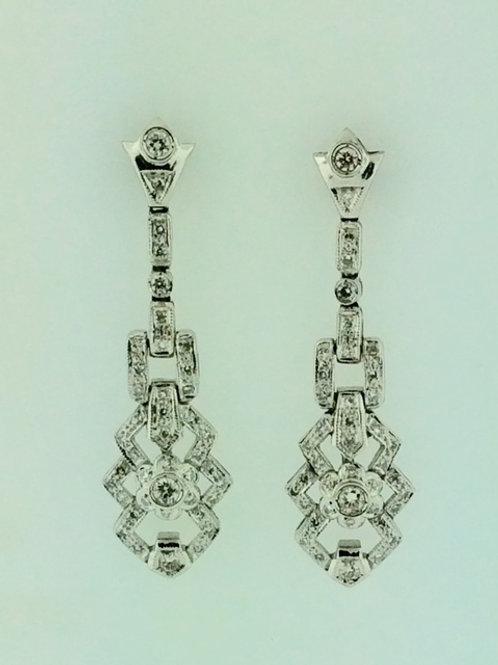 Neo-Vintage Style Diamond Earrings in 14k White Gold