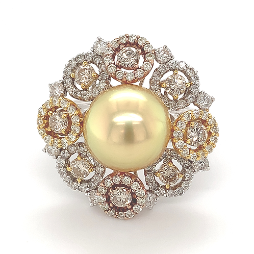 Golden Pearl and Diamond Ring, in 18k White Gold