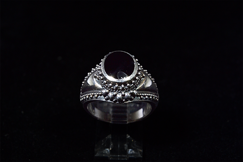 Sterling Silver Onyx Studded Ring