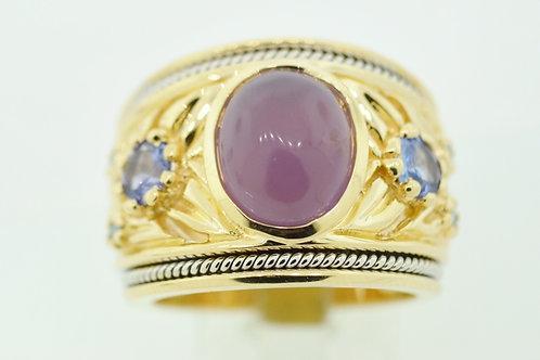 Beautiful Chalcedony Ring w/ Tanzanite and Blue Diamonds Set in 14k Yellow Gold