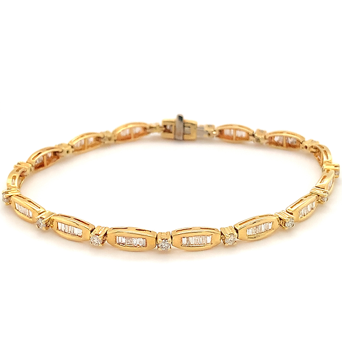 Baguette Diamond Tennis Bracelet, in 14k Yellow Gold