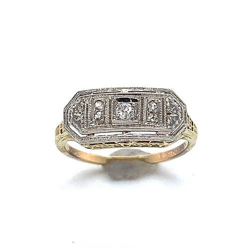 Antique Diamond Ring, in 14k Two-Tone Gold