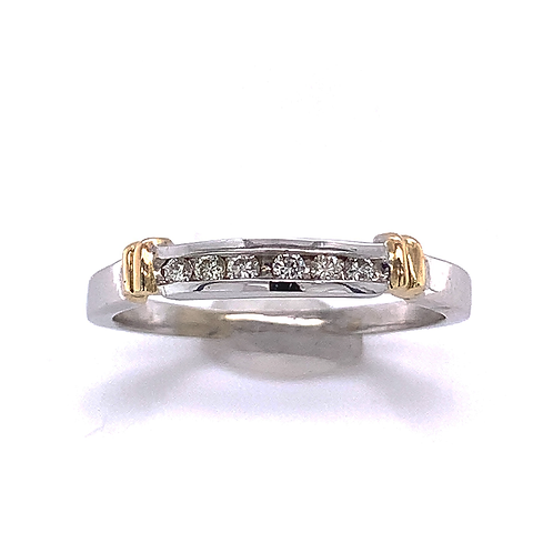 Channel-Set Diamond Ring, in Two-Tone Gold