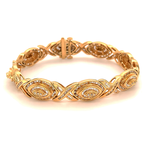 Baguette & Round-Cut Diamond Crossover Bracelet, in 14k Yellow Gold