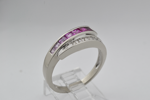 Pink Sapphire to Ruby Ombre Ring with Diamonds, in 10k White Gold