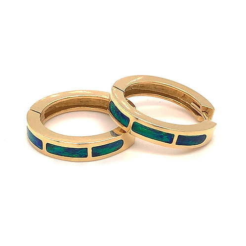 Lab Opal Inlay Hoop Earrings in 14k Yellow Gold