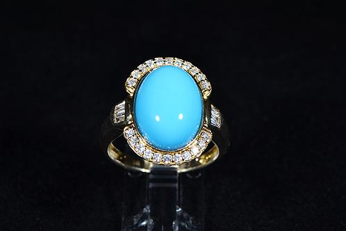 Sleeping Beauty Turquoise & Diamond Ring, in 14k Yellow Gold