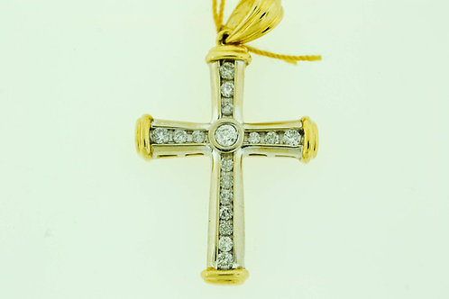 Round Brilliant-cut Diamond Cross Pendant in 14k Two Tone Gold