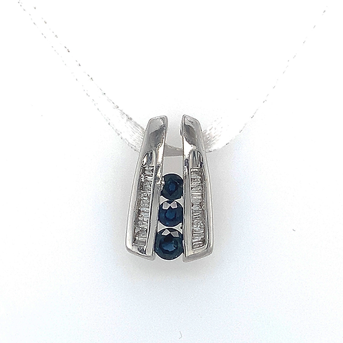 Sapphire and Diamond Pendant, in 10k White Gold