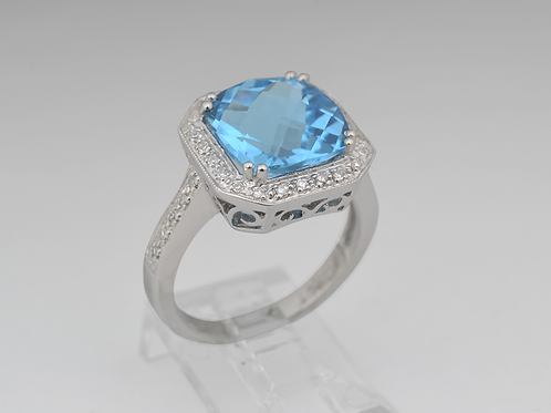 Blue Topaz and Diamond Ring, in 14k White Gold