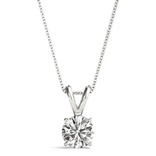 """Lab Diamond Pendant, in 14k White Gold with 18"""" Chain"""