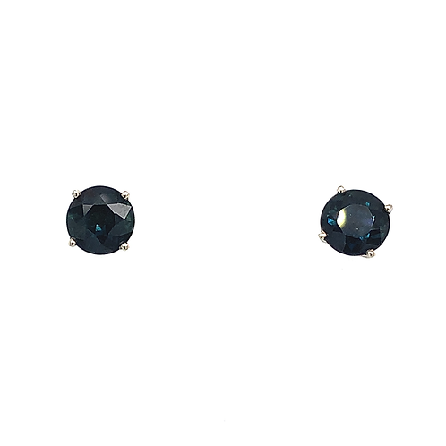 Round-Cut Sapphire Earrings, in 14k White Gold