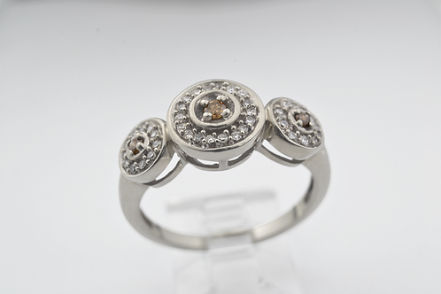 Triple-Haloed Chocolate Diamond Ring, in 10k White Gold