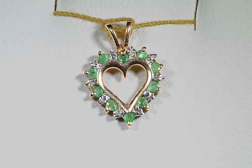 Emerald and Diamond Heart Pendant, in 10k Yellow Gold