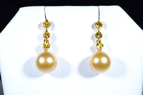 Golden Pearl and Yellow Sapphire Dangle Earrings, in 18k Yellow Gold