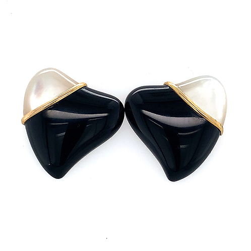 Black Onyx and Mother of Pearl Earrings with 14k Yellow Gold Trim