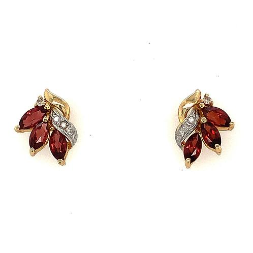 Garnet and Diamond Earrings, in 14k Yellow Gold