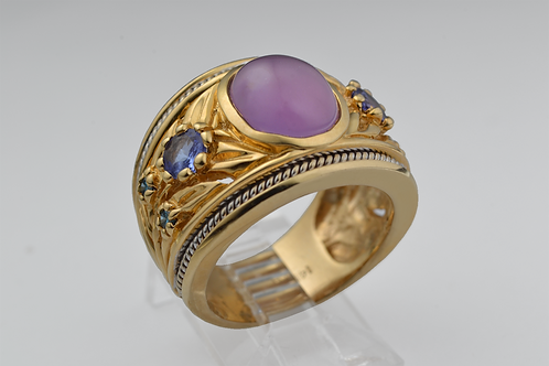 Chalcedony, Tanzanite, and Blue Diamond Ring, in 14k Yellow Gold