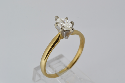 Marquise-Cut Diamond Engagement Ring in 14k Yellow Gold