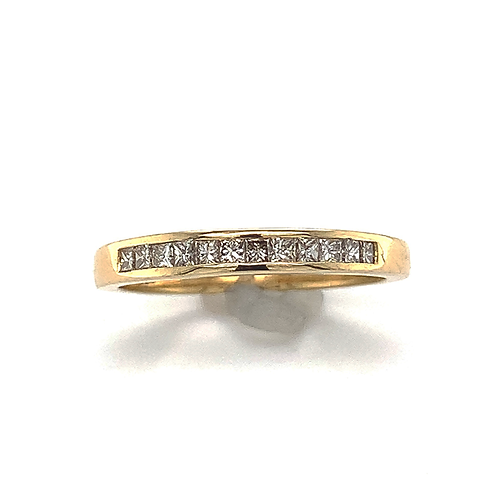 Princess-Cut Diamond Channel set Band in 18k Yellow Gold