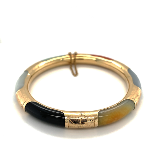 Multi-Color Jade Bangle, in 14k Yellow Gold