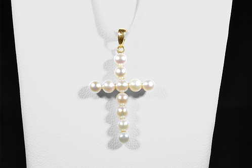 Pearl Cross Pendant, in 14k Yellow Gold