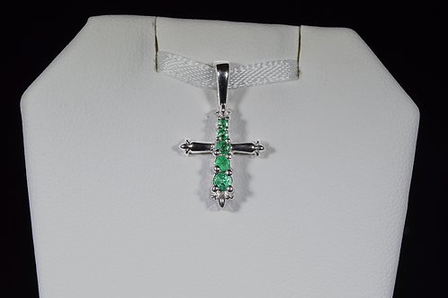 Emerald Cross Pendant, in 14k White Gold