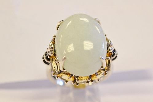 Sterling Silver Burmese Jade and Citrine Ring