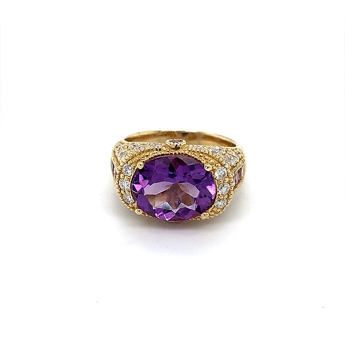 Amethyst Ring with Diamonds, in 14k Yellow Gold