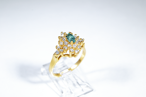 Natural Alexandrite and Diamond Ring, Set in 14k Yellow Gold